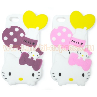 Задняя панель для iPhone 5/5S резиновая Hello Kitty Milk малиновая